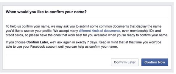 Facebook asking for verification that you are you